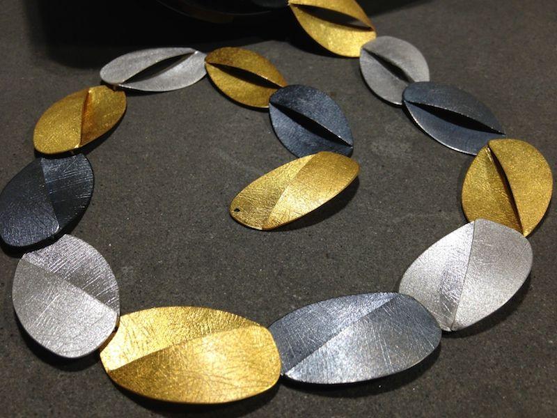 Collana in argento e argento dorato Deco Echo