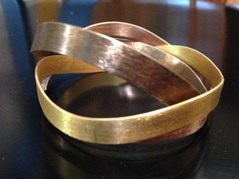 Bracciali in argento dorato rosa Deco Echo